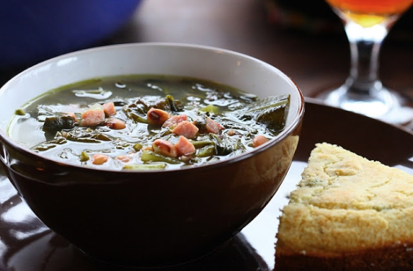 Black-eyed pea soup with greens - a New Year's Good Luck tradition