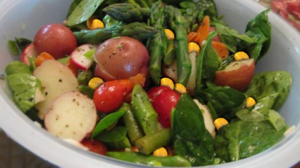 Potato Salad Primavera with Asparagus, Corn, Radish and Baby Spinach