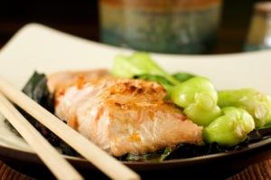 Orange Ginger Glazed Salmon with Bok Choi