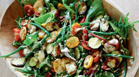 Zucchini and Green bean Salad with Tahini Dressing