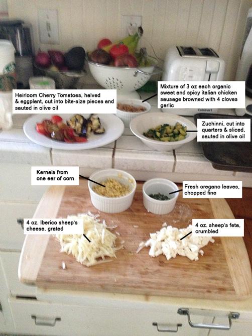 ingredients for ratatouille pizza