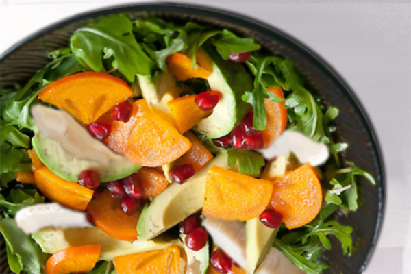 Honey Glazed Chicken Salad with Persimmon, Avocado and Pomegranate